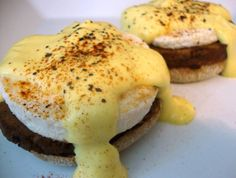 Eggless Eggs Benedict from .  The Gentle Chef Cookbook. (vegan)