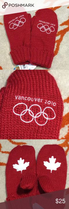 2010 Vancouver Winter Olympics Red Mittens  Official Vancouver 2010 Winter Olympics red mittens, with maple leaf on palms. Show your Canadian pride during the upcoming Olympics. These are NWT. These are fleece lined as well. . Purchased at the Olympics.  Adult L/XL Accessories Gloves & Mittens