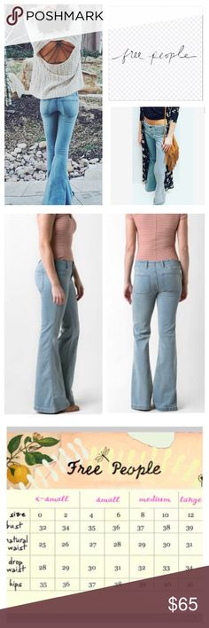 """Free People Mira Wash Stretchy Flared Jeans.  NWT. Free People Mira Wash Stretchy Flared Jeans, 53% cotton, 23% rayon, 22% polyester, 2% spandex, machine washable, 28"""" waist, 8.5"""" front rise, 13"""" back rise, 32.25"""" inseam, 26"""" leg opening all around, soft and stretchy denim, light blue wash with fading, no front pockets, two back patch pockets, belt loops, zip fly button front closure, measurements are approx.  NO TRADES Free People Jeans Flare & Wide Leg"""