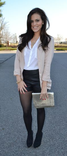 Inspiration: brown dressy shorts, nylons, boots, beige blazer. Maybe Fox Theater date this week <3