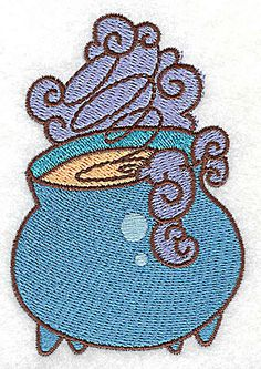 Witches cauldron steaming | Halloween Machine Embroidery Design