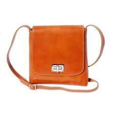 Italian Medium flat leather bag for women Leather (97 CAD) ❤ liked on Polyvore featuring bags, handbags, real leather bags, orange purse, leather bags, orange leather bag and genuine leather bags