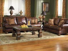 Living Room , The Best Living Paint Color Ideas for Living Room with Brown Furniture To Get Catchy Look : Awesome Grande Brown Sofa With Green Walls And Yellow Curtain Brown Leather Sofa Living Room, Grey And Brown Living Room, Living Room Green, Small Living Rooms, My Living Room, Living Room Decor, Barn Living, Country Living, Living Room Color Schemes