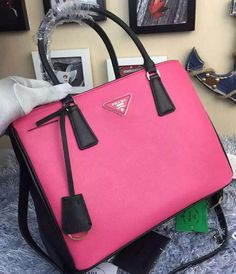 Prada Saffiano Calfskin Leather Tote Bag BN2274 Rose 6efd7e0565cea