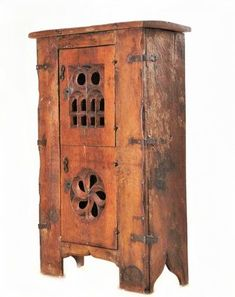 "Gothic cupboard or ""aumbry"" in walnut. half of the C - Antique Furniture Style Middle age Art Furniture, Camping Furniture, Furniture Styles, Furniture Design, Medieval Furniture, Gothic Furniture, Rustic Furniture, Antique Furniture, Tudor Kitchen"