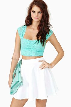 Scalloped Lace Crop Top - Mint