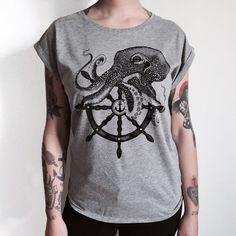 Octopus - ship wheel , ladies t-shirt