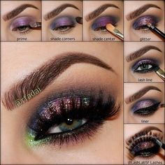 Purple Glitter Makeup Look – Full Tutorial via #rfadai