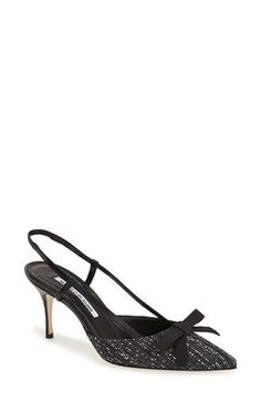Free shipping and returns on Manolo Blahnik 'Halter' Slingback Pointy Toe Pump (Women) at Nordstrom.com. A feminine bow perfects the crisp contrast of a tweed pump perched atop a sultry stiletto heel.