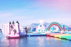 Excellent news for anyone who embraces whimsy as a way of life: Unicorn Island is real, and you can actually go there. Part of the giant floating playground known as the Inflatable Island, Unicorn Island is in the Philippines; it's located on the Sub… Inflatable Island, Inflatable Water Park, Unicorn Sprinkler, Giant Inflatable Unicorn, Structures Gonflables, Unicorn Island, Les Philippines, Summer Vibes, Pools