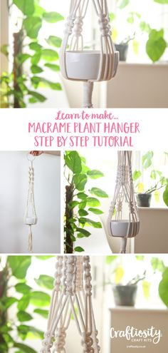 Macrame Plant Hanger Craft Kit Marcrame Plant Hanger DIY Step By Step Tutorial Craftiosity Crochet Plant Hanger, Macrame Plant Hanger Patterns, Macrame Patterns, Macrame Hanging Planter, Macrame Plant Holder, Plant Holders, Hanging Plants, Indoor Plant Hangers, Martha Stewart Weddings