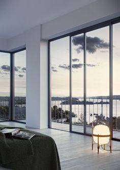 #oscarproperties Oscar Properties, Stockholm, interior, design, windows, stockholm, sweden, sea view, view, bedroom, lamp