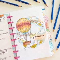 40 September Bullet Journal Cover Pages to Inspire You - - It's time to start planning our September Bullet Journal pages! From cute hedgehogs to hot air balloons there's a cover page here to inspire you! Bullet Journal Cover Page, Bullet Journal Spread, Bullet Journal Layout, Bullet Journal Ideas Pages, Journal Covers, Bullet Journal Inspiration, Bullet Journals, Art Journals, Journal D'inspiration