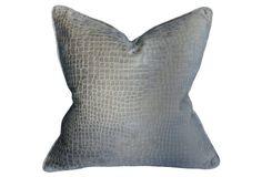 Steel Croc 22x22 Pillow, Silver