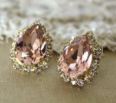 Pink Crystal big teardrop stud earring - 14k plated gold post earrings real swarovski rhinestones ...