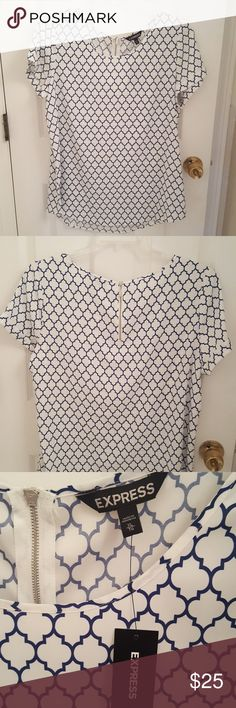 Printed Express Blouse Blue & white printed blouse. Perfect top for work. Has cuffed sleeves, scoop neck and back zipper. New with tags Express Tops Blouses