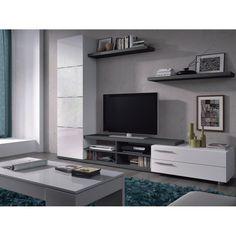 Meuble TV complet, blanc avec du chrome, design épuré et moderne, ira parfaitement avec quasiment tous les styles d'intérieursDimensions :Hauteur : 180 cm Largeur : 240 cm Profondeur : 41 cm