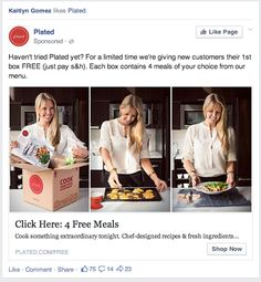 Great Facebook ad by Plated.  Click the image to download the full swipe file with 100+ creative ads to inspire your next campaign.