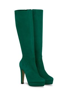 Green high heel knee high boots!