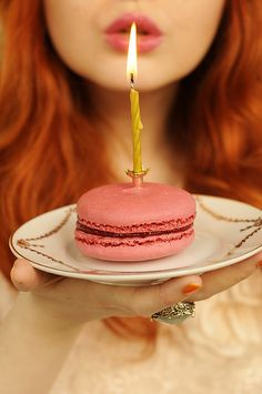 birthday, pink macaron, gold candle