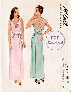 1940s 40s vintage dress sewing pattern side tie slip dress gown low plunge back Instant Download
