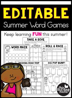 Editable Summer Word Games - This Reading Mama Reading Games, Teaching Reading, Fun Learning, Teaching Kids, Elementary Teaching, Free Reading, Learning Activities, Word Study Activities, Phonics Activities