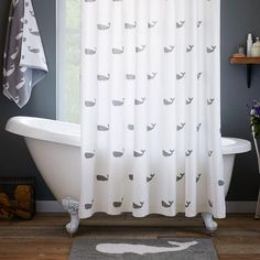 Grey Whale Shower Curtain l Coastal Bathrooms l www.DreamBuildersOBX.com