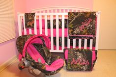 7pc Camo Mossy Oak Fabric & Pink Crib Bedding Nursery Set With Diaper Bag And…