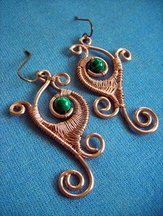 Malachite Leaf Earrings by pikabee on deviantART
