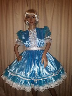 Sissy Blue Satin and Sequin Net Dress   eBay
