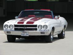 1970 Chevrolet Chevelle SS396 Convertible California Classic Muscle Car with 70,000 miles - This restored car originally came with over 22 factory options including: Air Conditioning, Automatic, SS Package, full Power (windows, brakes, steering, top, driver's seat), fiber optic lamp monitoring, bucket seats, center console, tilt wheel, AM/FM Radio, Tinted Windows, Deluxe Seat Belts... Tinted windows #tintedglass