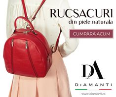 diamanti.ro Leather Backpack, Mall, Advertising, Spirit, Backpacks, Pink, Diamond, Leather Book Bag, Leather Backpacks