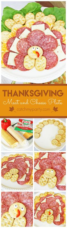 Thanksgiving meat and cheese platter that looks like a turkey! This will entertain the kids and adults at your Thanksgiving dinner!   CatchMyParty.com