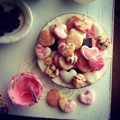 Tiny cookies to say I love you. 1:12 scale dollhouse miniatures by Kim Saulter