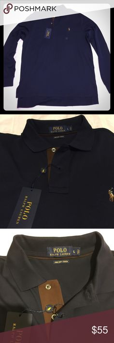 Ralph Lauren Mens Long sleeve Pima Soft Touch Polo DARK NAVY BLUE Brand New still with Tags MSRP 98.00 Polo by Ralph Lauren Shirts Polos
