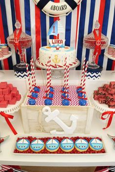 Fantastic dessert table at a nautical birthday party! See more party ideas at… Boy Birthday Parties, Baby Birthday, Sailor Birthday, Birthday Ideas, Baby Shower Themes, Baby Boy Shower, Sailor Baby Showers, Nautical Party, Baby Party