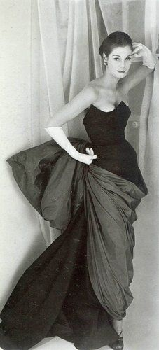 Love the swags, drape, texutre and what looks like a giant bow in back.  Gorgeous!  1952 Elsa Schiaparelli Dress