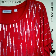 """Sale!! HP 8/3 ❤ Red Sequins Top Short sleeve. Red with silver sequins. 65% polyester. 35% rayon. 31.5"""" in length. Laying flat- Underarm to Underarm measures 26"""". Avenue Tops"""