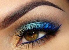 maquiagem sombra azul degradê