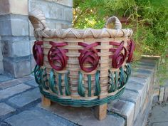 Footed Sewing Basket with Flowers Handwoven by kimstexascreations, $28.00