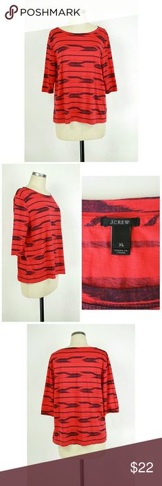 "J.crew cotton 3/4 sleeve tee Size XL. J.crew cotton 3/4 sleeve tee. Red/black. 100% cotton. Gently used with no flaws. Approximate measurements Bust 43"" Length 24.5"". J. Crew Tops Tees - Long Sleeve"