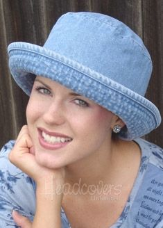 This denim hat is extra deep, made for chemo patients who have lost their hair. Nice that it's so cute.