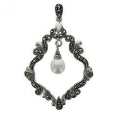 Sterling Silver Marcasite Pearl Diamond Wavy Drop Cutout Pendant