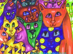 a whole lotta cats art