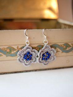 Silver Grey Crocheted Flower Earrings with Blue by Cordonnet, $19.00