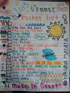"My summer bucketlist . Minus the dates with ""kyan?"""