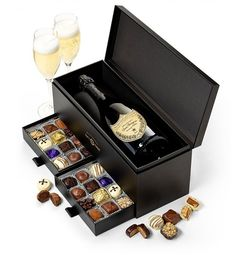 Champagne and Chocolate gift basket - Impress someone special with this sophisticated gift basket! Unique wine gift box features 2 sliding compartments full of elegant chocolates. box Luxury Champagne & Chocolate Gift Basket - Choice of Champagne Bday Gifts For Him, Surprise Gifts For Him, Thoughtful Gifts For Him, Romantic Gifts For Him, Unique Birthday Gifts, Wine Gift Boxes, Wine Gifts, Relationship Gifts, Diy Gifts For Boyfriend
