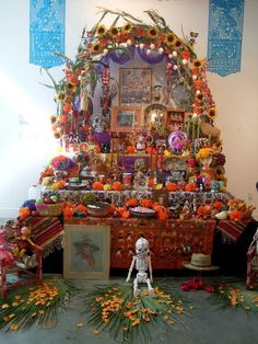 """""""Día de Muertos"""" (Day of the Dead). Home altar of a Mexican family to remember and honor their deceased loved ones."""