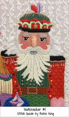 Needlepoint Study Hall: Jolly Nutcrackers by dede Ogden and Robin King. like the background Needlepoint Designs, Needlepoint Stitches, Needlepoint Canvases, Embroidery Stitches, Needlework, Needlepoint Stockings, Machine Embroidery Projects, Beaded Crafts, Christmas Embroidery