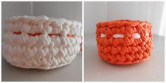 two baskets made ​​from t-shirt yarn